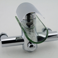 free shipping basin faucets glass bathroom tap brass pool faucets mixer waterfall faucet LH 8024