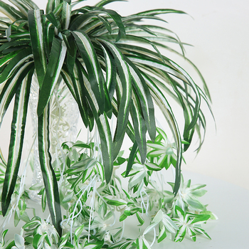Luyue 65cm Artificial flowers plants Wall Hanging Chlorophytum potted green plants PVC Fake Simulation flower living room decor