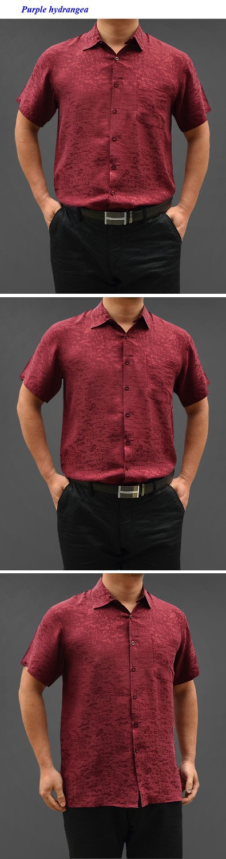 100% natural silk short sleeve shirt men,pure silk business casual plaid shirts,100% silk turn down collar men shirt - 6