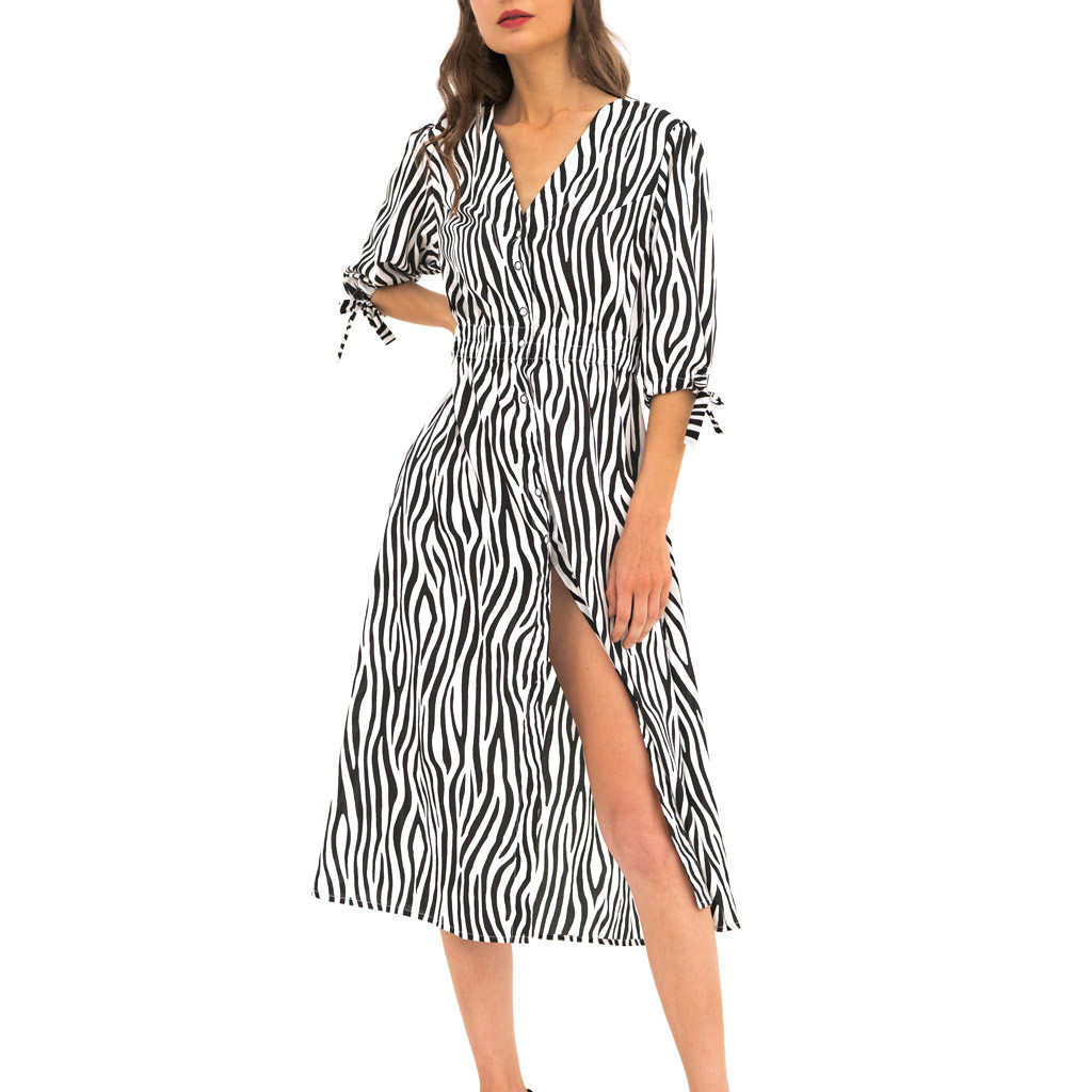 Womail Printed Design Polyester Material Casual Polyester Material Summer Hot Sale V-Neck Puff Sleeve Dress Women 19APR09