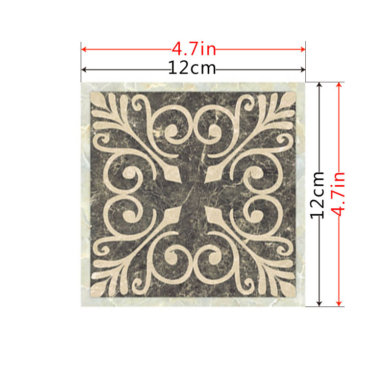 10 Pcs Set Retro Ceramic Tile Stickers Self Adhesive Tiles Art Diagonal 3D Floor Stickers For Living Room Kitchen Bedroom in Wall Stickers from Home Garden