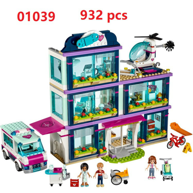932pcs 01039 Friends Series Heartlake Hospital Kids Bricks Building Blocks Toys Girl Gifts Compatible with Legoe 41318 building bricks girls club 932pcs 01039 heartlake love hospital kids bricks toy for girls 41318