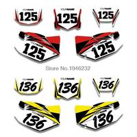 H2CNC Custom Number Plate Background Graphics Sticker & Decal For Honda CRF250X 2004 2012 2006 2008 2010 2011 CRF 250X
