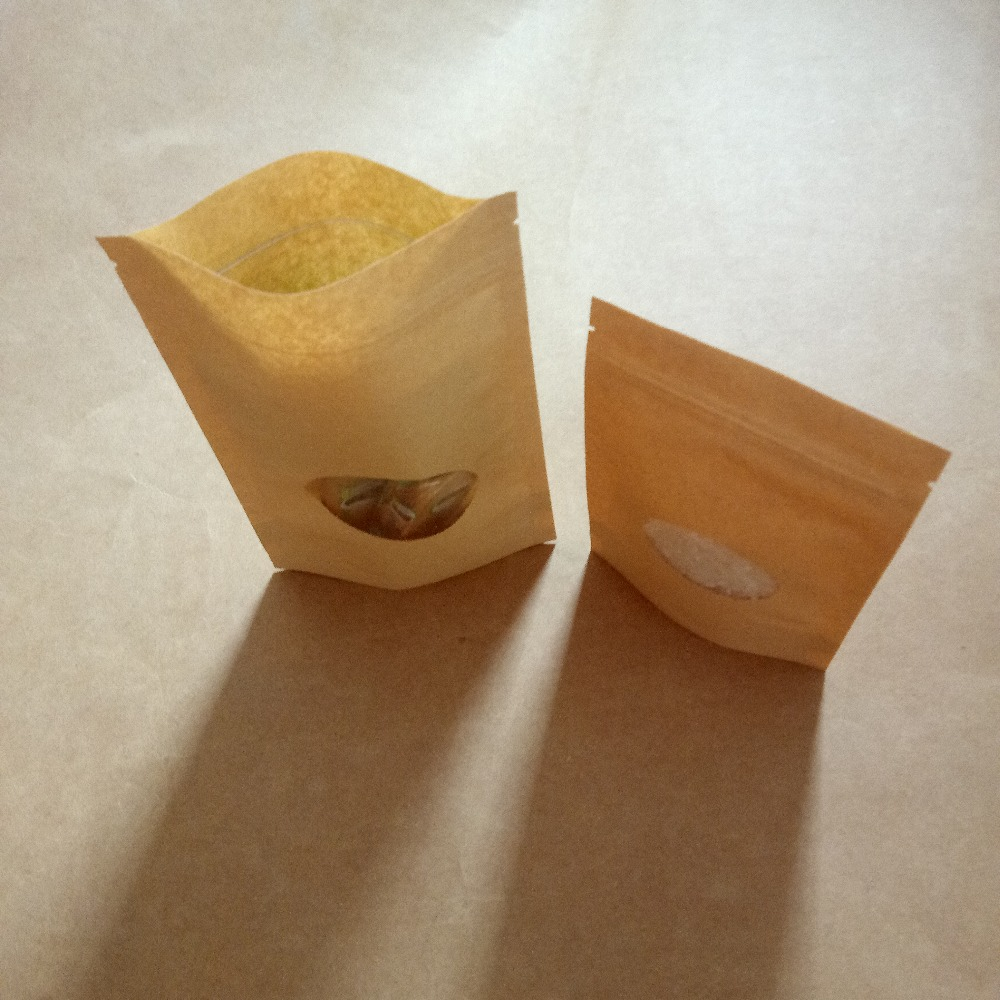 100pcs Brown Kraft Paper Bag For Gifts Bags Wedding Candy Tea Food Window Stand Up Kraft Paper Bag With Zipper Packaging bags in Gift Bags Wrapping Supplies from Home Garden