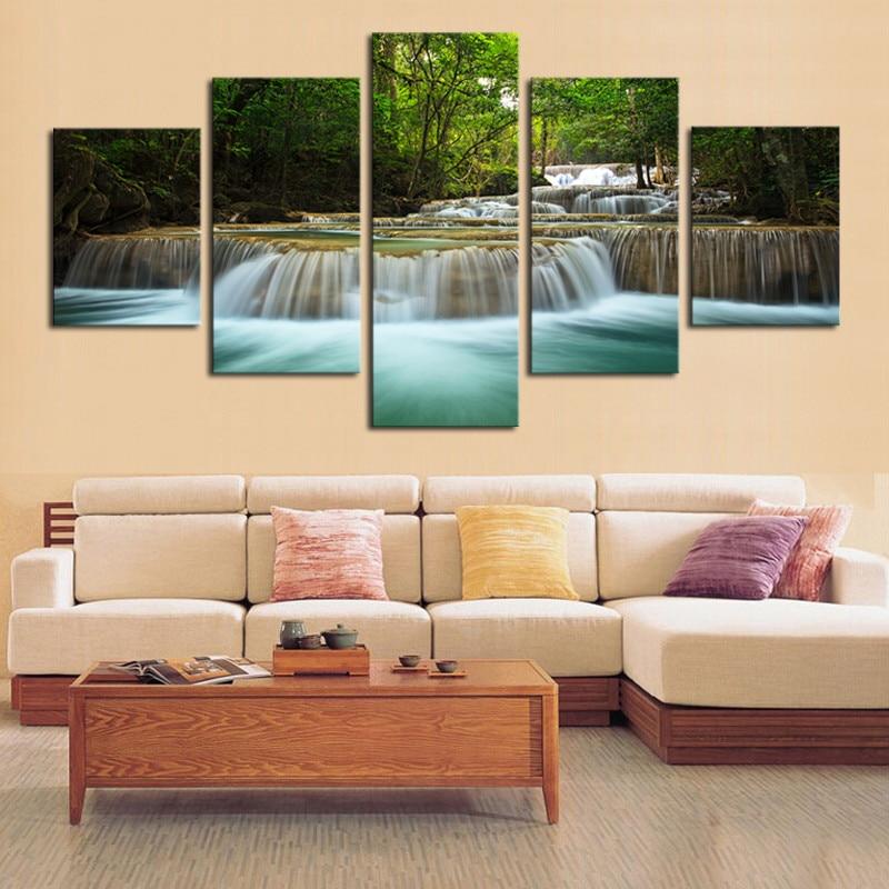 5 Stücke Wasserfall Gemälde Leinwand Wandkunst Bild Home Decoration