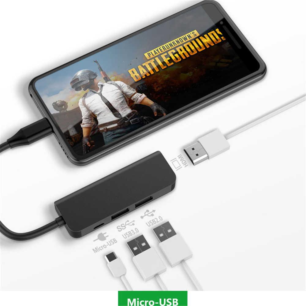 USB Tipe C untuk HDMI Adaptor USB HUB C Tpye-C untuk HDMI Micro USB 3.0 4 Port USB hub Splitter Adaptor HUB untuk MacBook Huawei Samsung