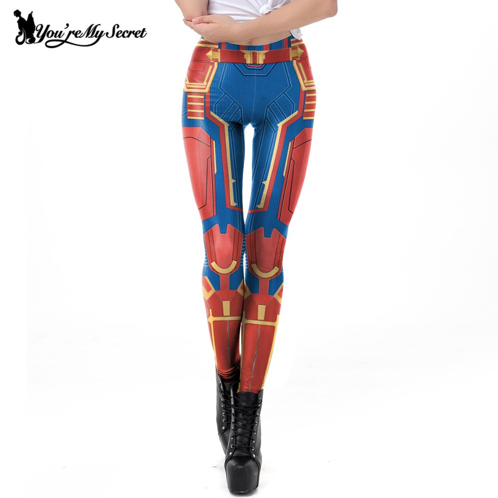 [You're My Secret] 2019 New Printed Avengers Captain Marvel Carol Danvers   Leggings   For Women Cosplay Leggins Elastic Pants