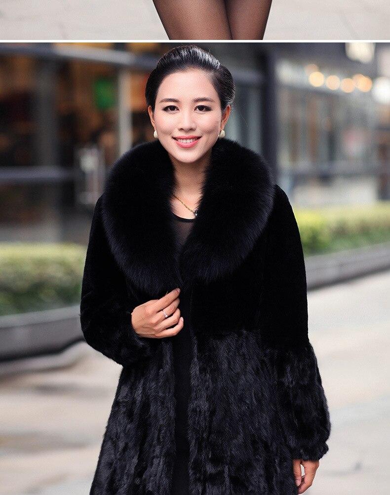 Gratuite Manteau Livraison Pardessus Size En Nouveau Cuir De Femmes D'hiver Long Faux Fashions Fourrure Plus Furry Noir Patchwork AHw0nqnp5