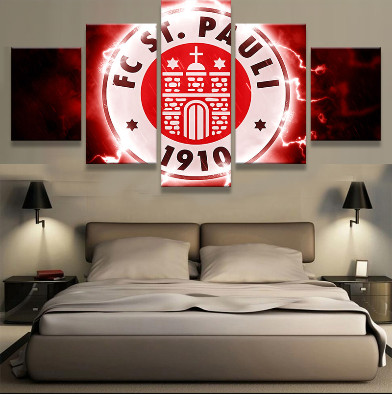 5 Pieces FC St. Pauli Sports Team Deco Fans Posters Oil Painting On Canvas Modern Home Pictures Prints Decor Living Room Bedroom