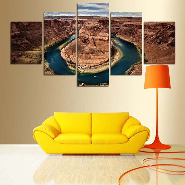 2017 5 Panels Painting Canvas Wall Art Majestic Mountains Pictures ...
