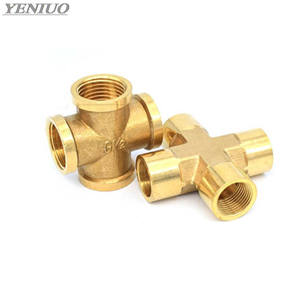 "Brass Pipe Fitting 4 Way Connector Cross 1/4"" 3/8"" 1/2"" male Thread Copper Barbed Coupler Adapter Coupling"