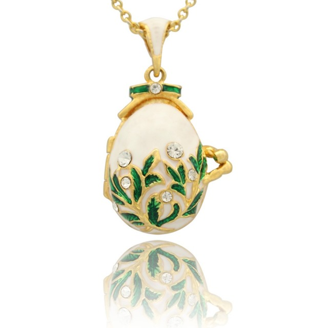 Aliexpress buy new vintage white enamel crystal pendant new vintage white enamel crystal pendant necklace easter eggs fit european luxury brands necklaces christmas negle Image collections