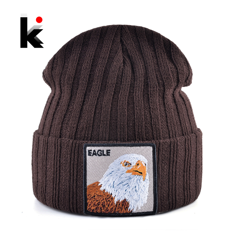 Solid Winter   Beanie   Hat Men Women Fashion Knitted   Skullies     Beanies   With Eagle Patch Fashion Streetwear Gorras Hip Hop Bonnet Cap