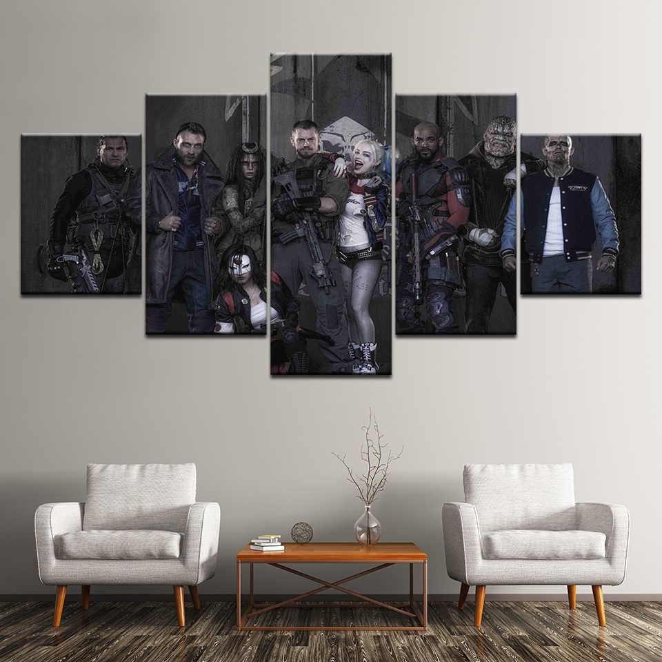 現代フレームリビングルームの写真ホームデコレーションモジュラーアートポスター 5 パネル自殺分隊ジョーカー HD プリントキャンバス壁画