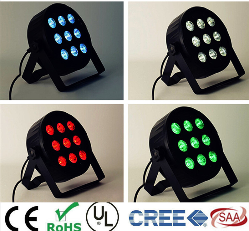 9x12W LED Flat SlimPar Quad Light RGBWA UV 6in1 Dj Par Light  LED DJ Wash Light Stage Uplighting No Noise