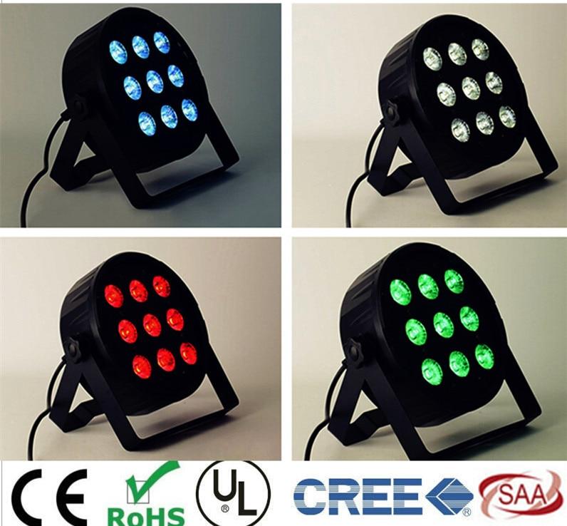 9x12W LED Flat SlimPar Quad Light RGBWA UV 6in1 Dj Par Light  LED DJ Wash Light Stage Uplighting No Noise