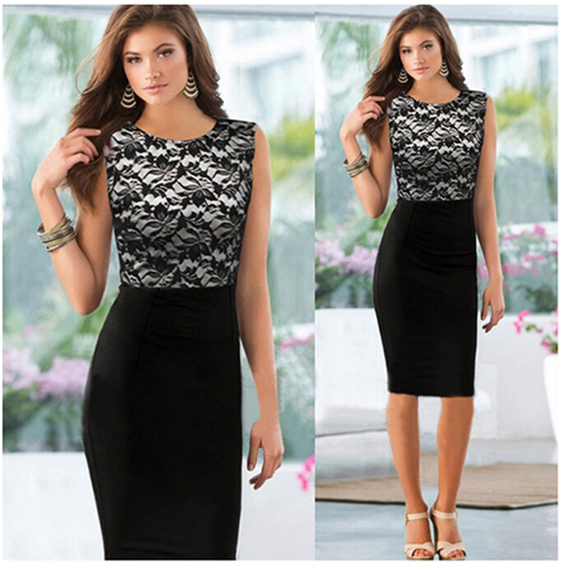 Women Fashion Lace Patchwork Formal Business Slim Pencil Dress O-Neck Sleeveless Ladies Work Office OL Party Knee-Length Dress