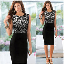 Women Fashion Lace Patchwork Formal Business Slim Pencil Dress O-Neck Sleeveless