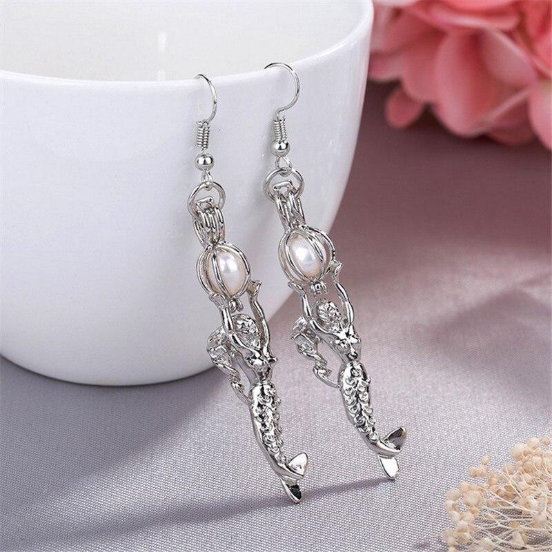 3 color Charm Long Mermaid Earrings for Women Girls Gifts Vintage Luminous Earrings Fashion Jewelry
