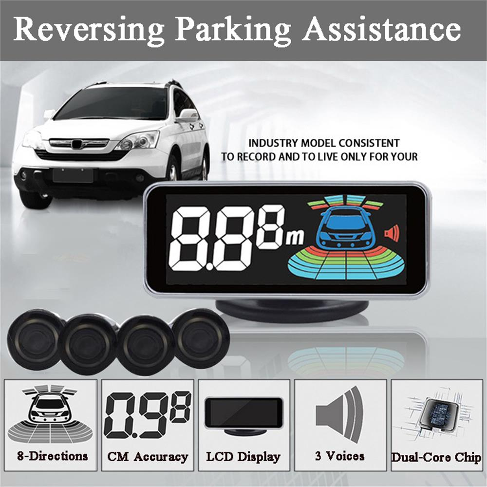 OkeyTech Parktronic Parking Sensor 4 Sensor Reversing Radar Detector LCD Digital Car Parking Assistance Alarm System FOR All Cars