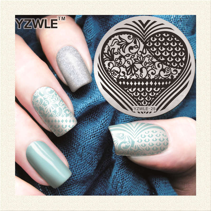 Yzwle 1 Sheet Stamping Nail Art Image Plate 56cm Stainless Steel