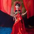 Hong rojo Fu moda étnica China tendencia nacional del traje rojo para niña con pelo Tiaras hermosa disfraz de chica