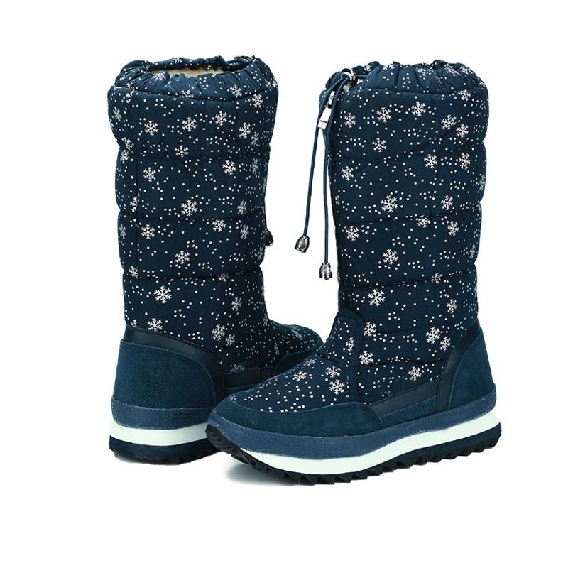 Avec De Chaud Pour Grand Neige Noir Longues Femelle Grapara Femmes bleu Peluche Fourrure Hiver Bottes Bateau Chaussures Haute Noir Et Imperméable Dame TxIqxZOw