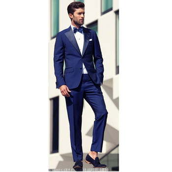 Fashion classic men's suit blue lapel single-breasted men's prom dress and office professional suits (jacket + pants) custom