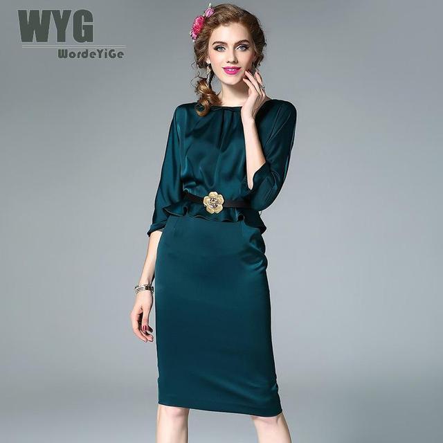 Frauen Vintage Bleistift Kleid 2017 Herbst Elegante Mode Rüschen ...