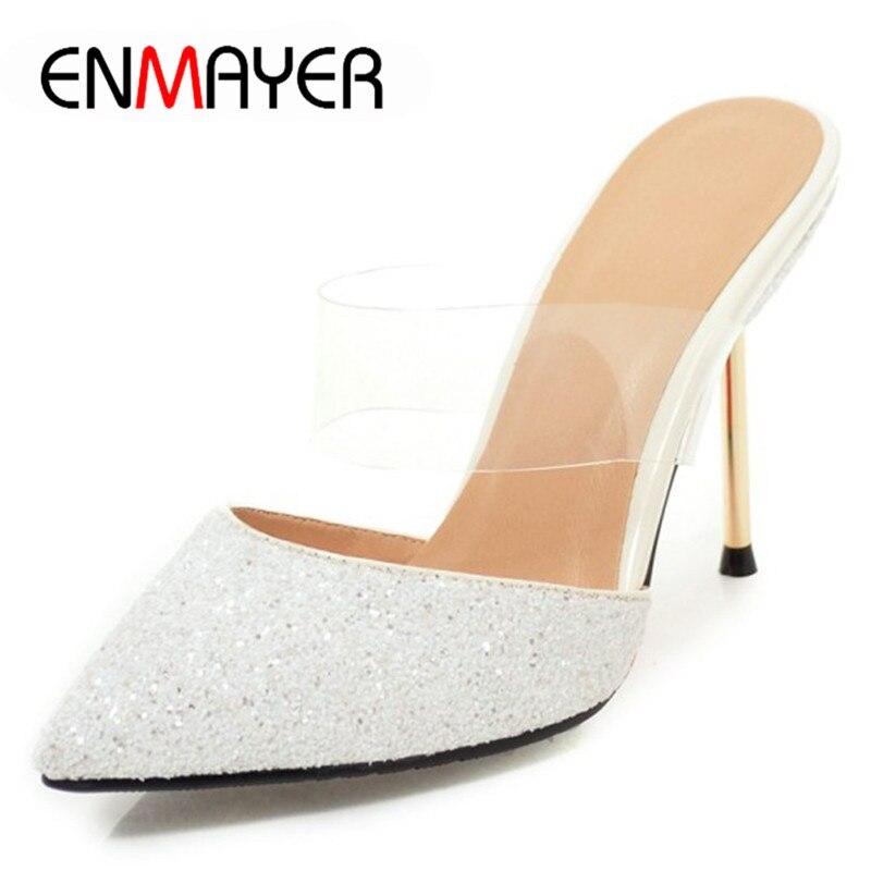 ENMAYER été sandales chaussures femme Sexy robe de soirée de mariage talons minces chaussures peu profonde solide cheville Wrap dame Bling Bling chaussures