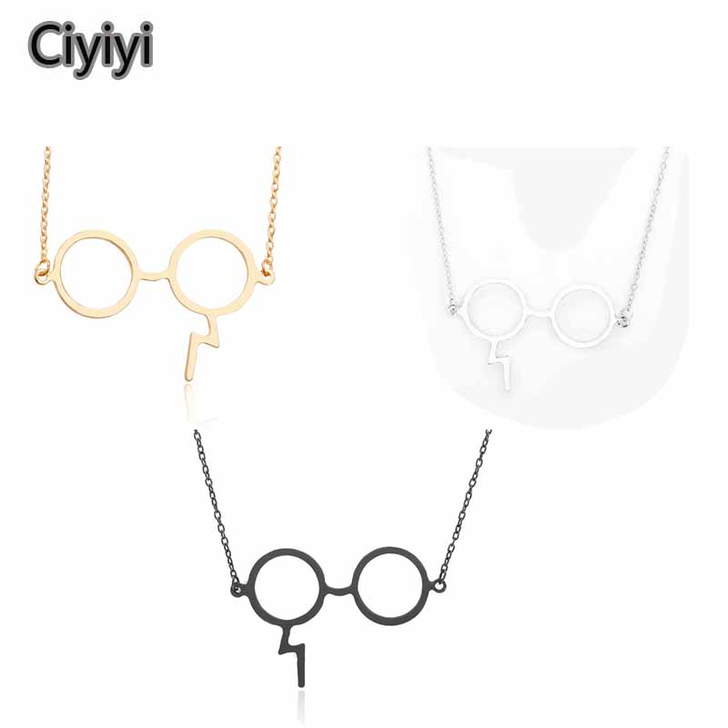 Harri Potter Hogwarts School Cosplay Glasses Necklace Toy Party Show Jewelry Pendant Toys Magic World Girl Jouet Gift