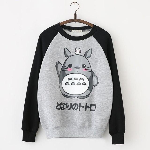 6a1cd3b9064e Caliente de Japón Totoro Dibujos Animados Sudaderas Con Capucha Para Las Mujeres  Harajuku Femenino Femme Lindo