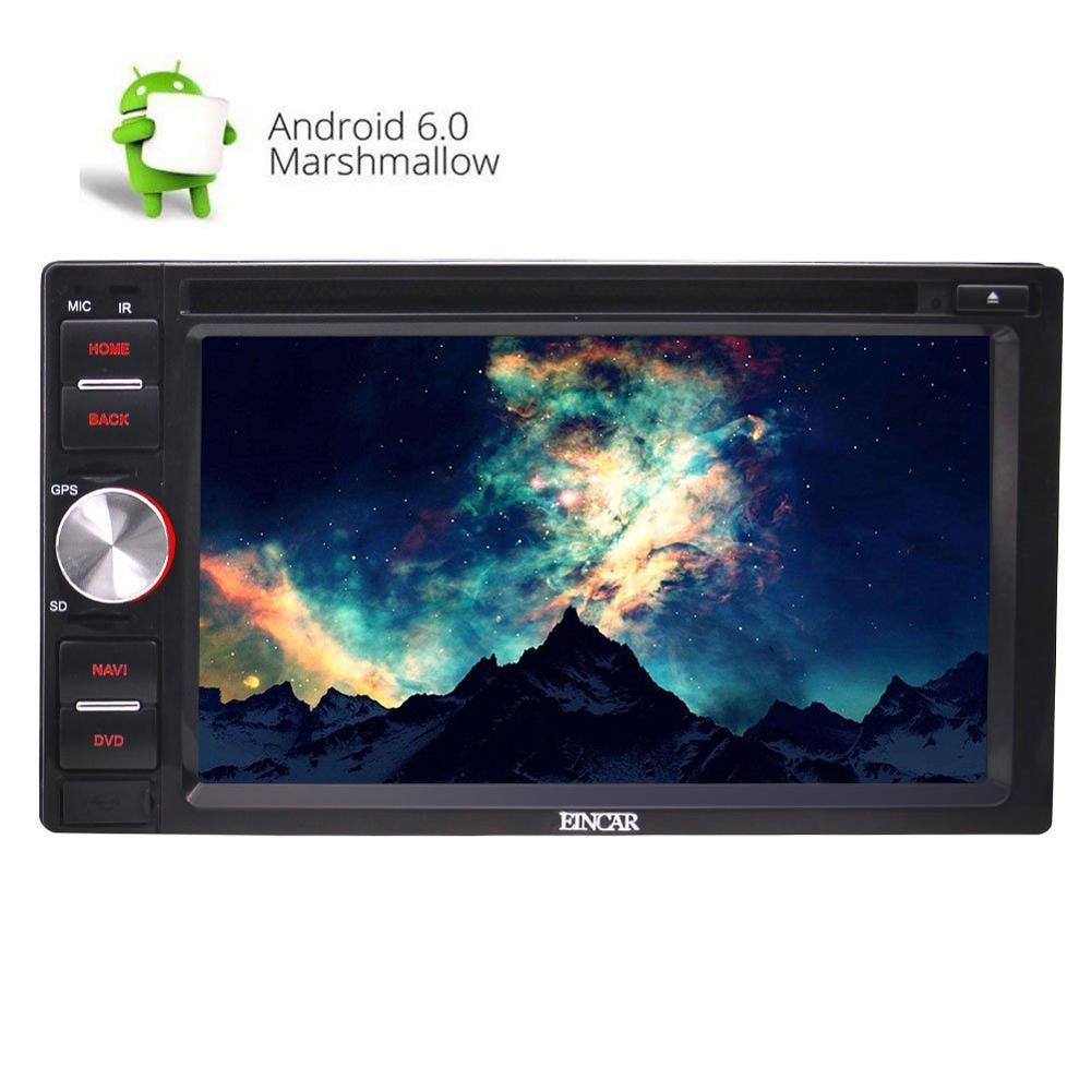 Stéréo de voiture Double Din Android 6.0 avec Quad Core 6.2 ''lecteur DVD de voiture écran tactile GPS Auto Radio + télécommande/micro externe