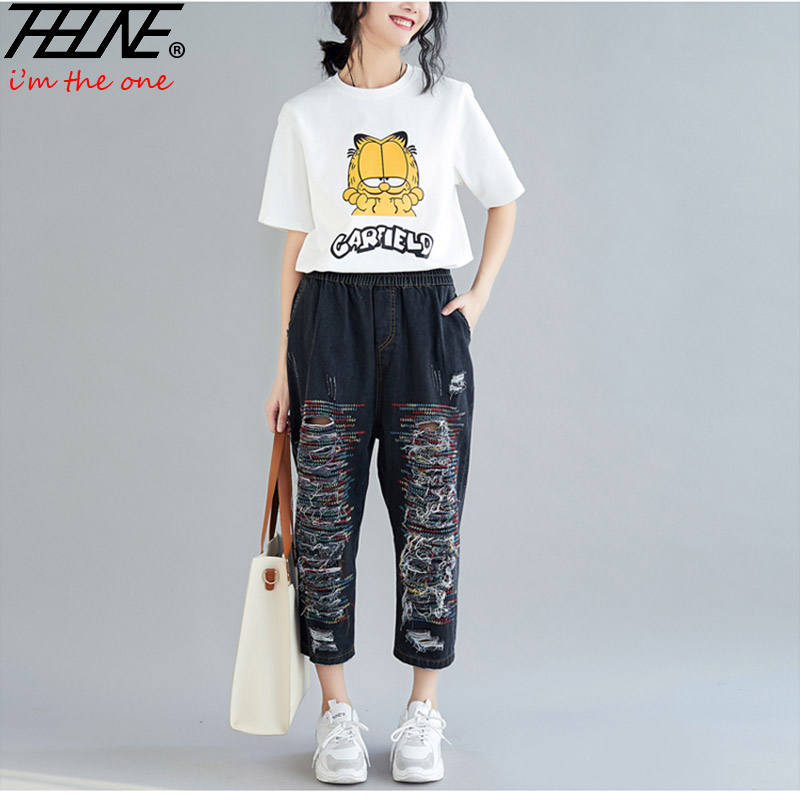 THHONE Mom Jeans Women High Waist Denim Pants Harem Casual Trousers Vintage Embroidery Mujer Jean Femme Ripped Jeans for Women Price $29.99