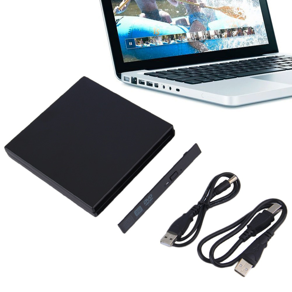 Portable USB 2.0 DVD CD DVD-Rom IDE External Case Slim For Laptop Notebook Black External Hard Drive Disk Enclosure