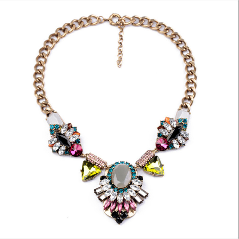 New fashion women choker top designed sweater necklace with muticolor shinning crystal accessories shinning for lady