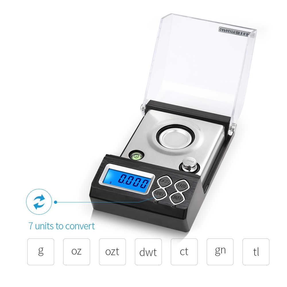 20G 30G 50G Presisi Tinggi Profesional Digital Milligram Skala Mini Keseimbangan Elektronik Dapur Skala Perhiasan Emas Karat skala