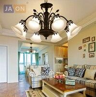 led e27 American Iron Glass Black LED Chandelier Chandelier Lighting LED Light LED Lamp For Foyer Dinning Room
