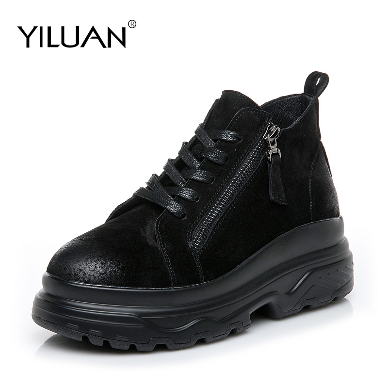 Yiluan winter Zipper Flat Short boots Woman Platform Leather ladies black martin boots Lace up Shoes