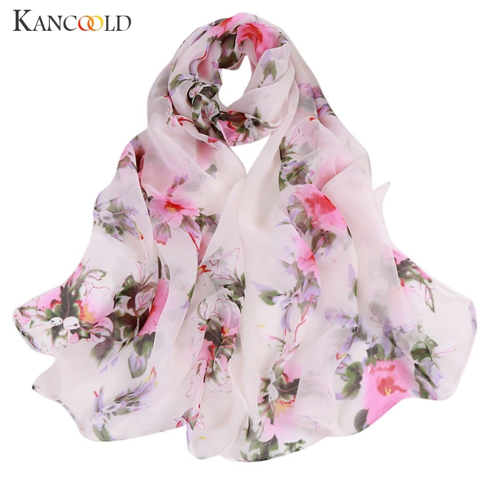 KANCOOLD   Scarf   Women Fashion Peach Blossom Printing Long Soft   Wrap     Scarves   Ladies Shawl Chiffon   scarf   women 2018Nov2