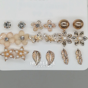 Pearl Beautiful Party Crystal Girls Zircon Round Graceful Flower Leaf Exquisite Studs Earrings Set Butterfly 9 Pairs/Set(China)
