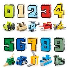 أحدث 10 أرقام تتحول إلى سيارة/طائرة/صاروخ الإبداعية في 1 شخصيات العمل الروبوت العسكرية بناء لعبة المكعبات للأطفال الهدايا