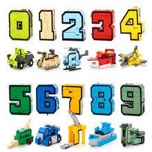 Figuras de acción de robot en miniatura para niños, juguete de bloques de construcción de robot transformable en coche/avión/cohete, creativo en 1, 10 dígitos