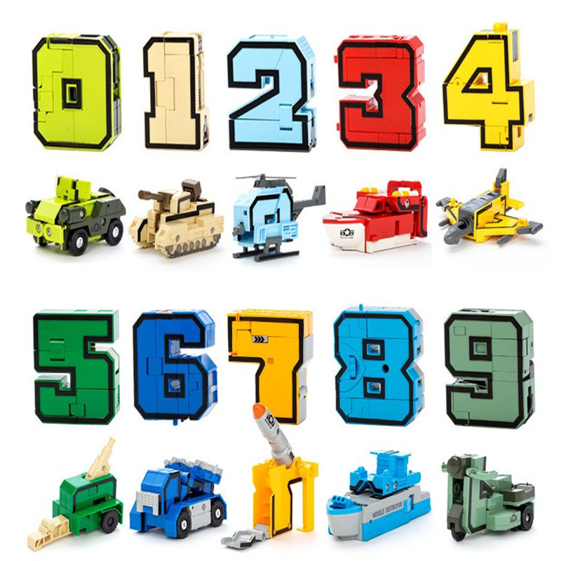 GUDI Transformer Number Robot Bricks 10 in 1 Creative Assembling Educational Action Figures Building Block Model toy Kids gifts цена