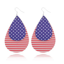 new arrival teardrop leather earrings for women national flag multilayer leaf lightweight statement fashion jewelry