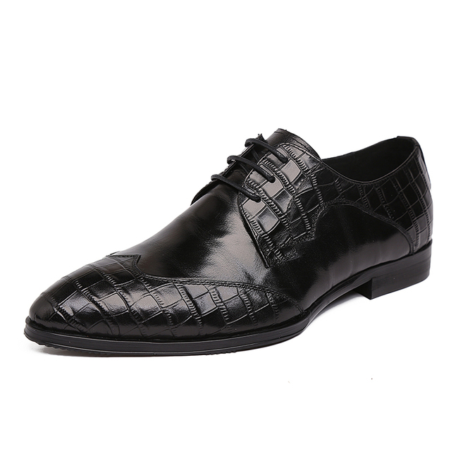 Large Size EUR44 Fashion Black Flats Genuine Embossed Leather Mens Dress Pointed Toe Lace-Up Business Dress Mens Wedding Shoes