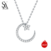 цены SA SILVERAGE Necklaces Fine Jewelry Silver Chain Necklace 925 Sterling Silver Moon Star Pendant Necklaces For Women Chokers 2019