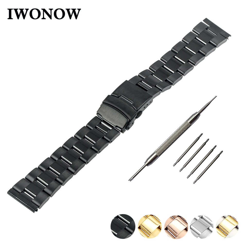 Stainless Steel Watch Band 18mm 20mm 22mm 24mm for Fossil Safety Buckle Watchband Strap Wrist Belt Bracelet Black Gold Silver top quality new stainless steel strap 18mm 13mm flat straight end metal bracelet watch band silver gold watchband for brand