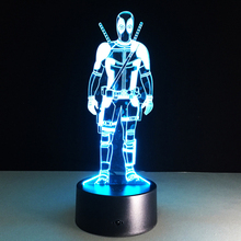 Hot sale Deadpool Colorful gradient 3D night light Creative remote control or touch switch night light LED table lamp