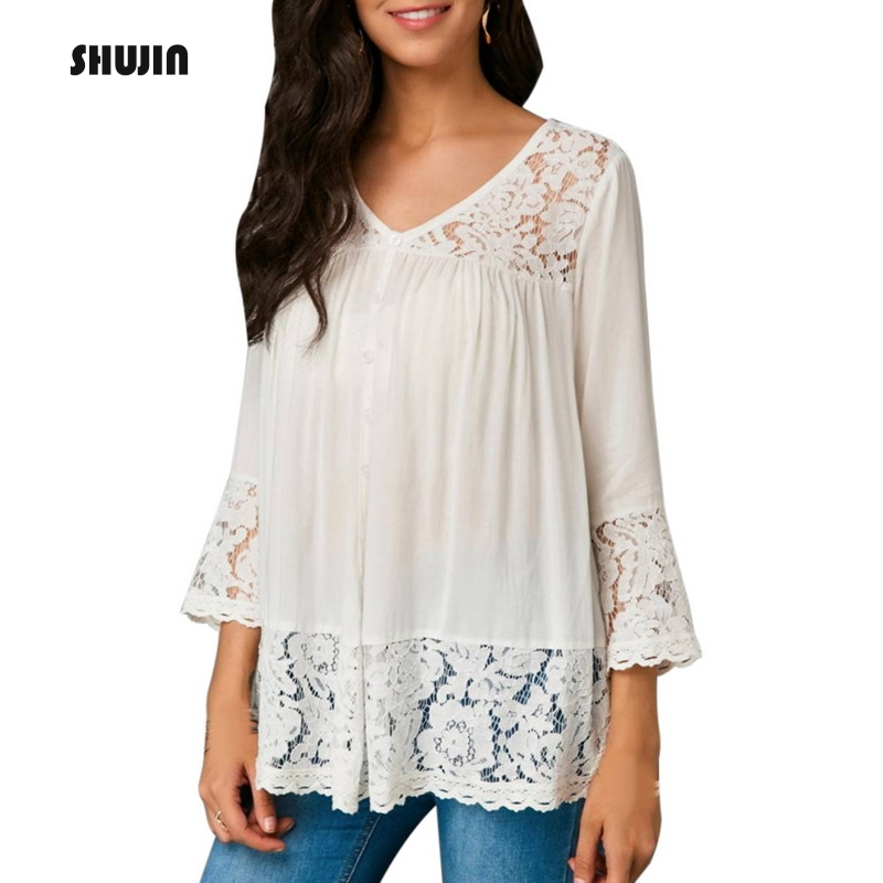 SHUJIN 2019 Womens V-neck Solid Color Long Sleeve   Shirts   Casual Loose Ruffle Tops Ladies Puls Size Patchwork Lace   Blouse     Shirt